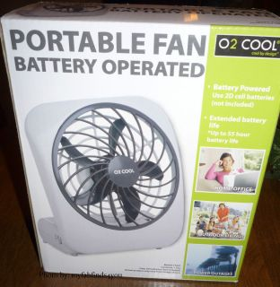 New O2 Cool 5 Portable Battery Operated Fan Home Office Camping Bingo