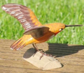 Rufous Hummingbird Life Like Hand Carved Wood Bird Sculpture Realistic