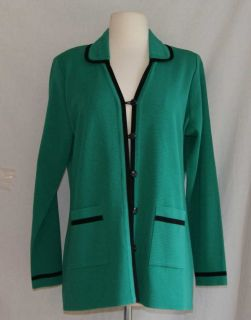 Exclusively Misook green cardigan sweater large acrylic knit