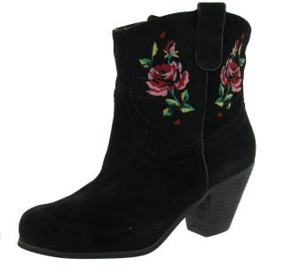 Betsey Johnson Yodel Leather Western Cowboy Rose Embroidered Womens