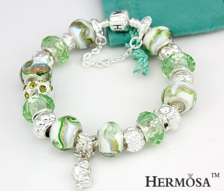 Gift Hermosa Angel Pumpkin Diamond Flower Charm Green Crystal Silver