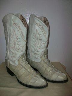 Mens Botas Murillo Exotic White Bone Leather Alligator Western Boots