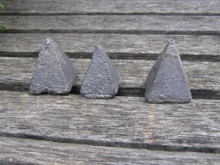 Antique Vintage 3 Pyramid Lead Sinker Fishing Weights