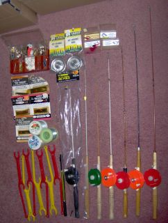 Vintage Ice Fishing Equipment Some Still Brand New Huge Bulk Lot O1