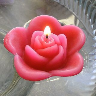 12 Hot Pink Floating Rose Wedding Candles for Table Centerpiece