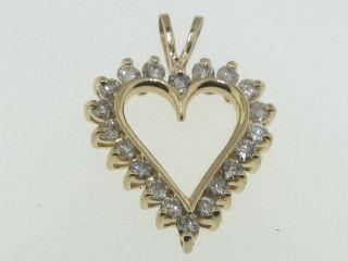14k Gold Diamond Heart Pendant 1 Carat TW