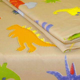 New 3pc Dinosaurs Extra Long Twin Sheet Set Brown Bedding Deep Pocket