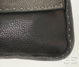 Fendi Selleria Black PEBBLED Leather Baguette Bag