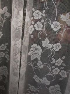 VINTAGE VICTORIAN FRENCH COUNTRY CHIC NET FLORAL LACE DRAPES CURTAINS