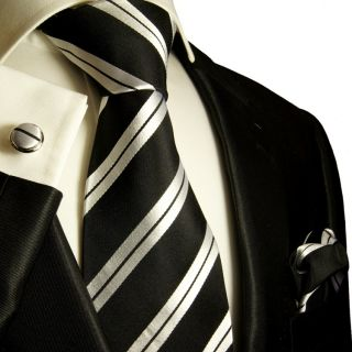 New Extra Long Black Silver Paul Malone Tie Set 279CH