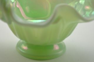 Fenton Carnival Glass Light Green Basket 1990s Hand Made Collectible