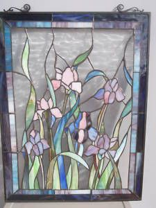 Floral Pattern High Quality Stained Glass Panel 18 x 24 Suncatcher