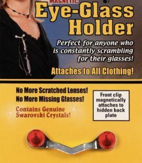 Readerest Magnetic Eyeglass Holder with Red Swarovski Crystals