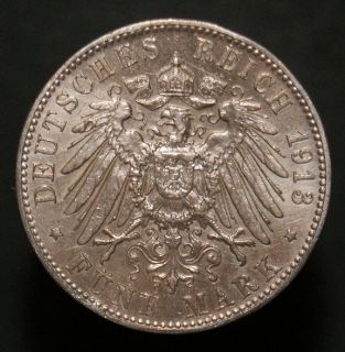 Germany 1913 Funf Mark 5 F Mint mark Wilhelm II Wuerttemberg large