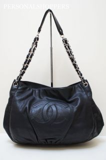 Fab Chanel Halfmoon Washed Leather Large Hobo Black Bag