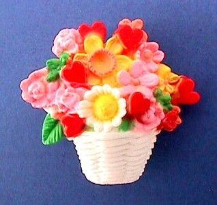MIP Hallmark PIN Valentines Day HEARTS Flowers BASKET Lapel Brooch Vtg