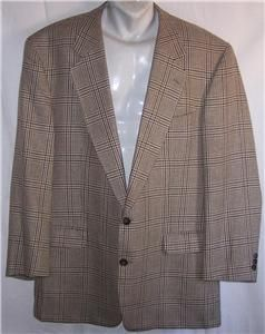 44R Fabrizio Silk Wool Black Brown Plaid Sport Coat Suit Blazer Jacket