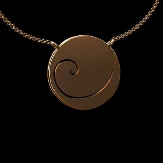 14K Pink Gold Fibonacci Spiral Phi Golden Ratio Pendant Necklace