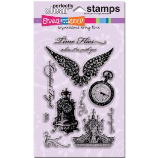 Perfectly Clear Stamps Time Flies Vintage Designs Pocket Watch