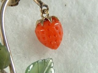 Carved Coral Strawberry Jade Leaf Pin Brooch 12K GF w E Richardson Co