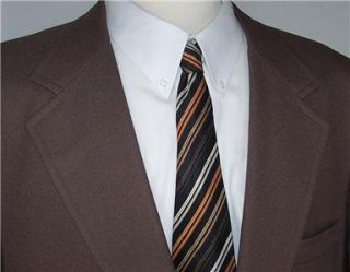 48R Vtg Vintage Medium Brown 2 Button Sport Coat Jacket Suit Blazer