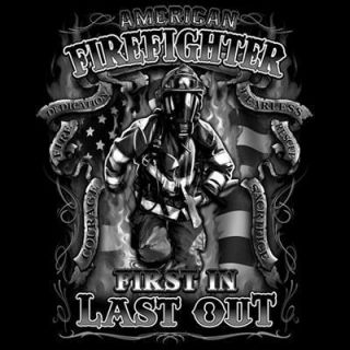 Fire Rescue American Firefighter First in Last Out White Logo Black T