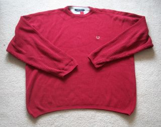 Tommy HIlfiger Firebrick Red Crew Neck Sweater Great Condition Size