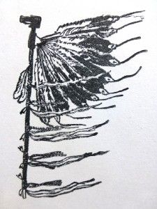 mounted rubber stamp native american ceremony dance stick indian