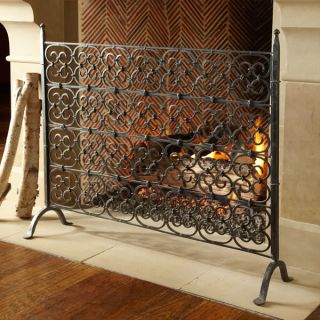 Forged Wrought Iron Gothic Scroll Decorative Fireplace Screen
