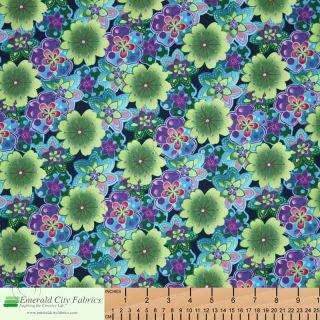 Kona Bay Rainbow Garden Floral Teal Asian Cotton Quilt Quilting Fabric