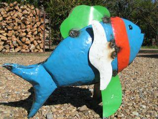 Metal Yard Art Fountain Fish Garden Recycled Junk Iron Colorful