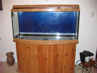 72 Gallon Bow Front Aquarium Fish Tank with Light Hood and Stand Oak