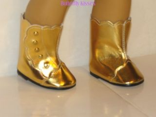 Gold Fancy Boots Doll Clothes Fit American Girl Marie Grace Cecile