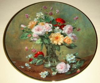 Albert Williams Gorgeous Vase w Lovely Flowers Autumn Bouquet Plate BX