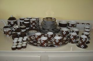 Vintage Fitz & Floyd Brown Check Plaid China 6+ Place Setting FF