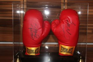 Floyd Mayweather Jr and Manny Pacquiao signed gloves with case/ JSA