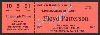 Floyd Patterson Boxing Hand Signed Autographed Autograph Ticket JSA