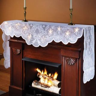 Lighted Mantel Scarf Fireplace Christmas home decor Beautiful NEW