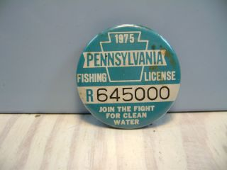 Vintage 1928 pa tin fishing license pin button w paper lic for Pa fishing laws