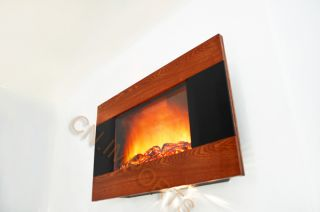 Wood Trim Panel Electric Fireplace Heater with Logs C510CL