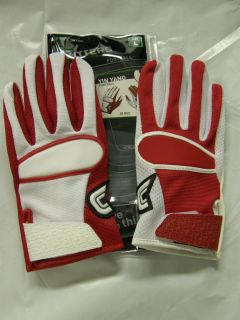 Cutters Yin Yang Football Gloves 017YY White Red Adult Sizes Receivers