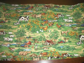 88 Kitchen Valance Country Farm Animal Cow Chicken Rooster Horse Lamb
