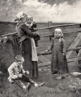 SALMSON Print c19th Farm Children Brother Sister Baby Pasture Gate
