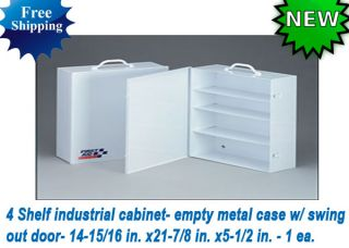 First Aid Only 4 Shelf Industrial Cabinet Empty Metal Case w Swing Out