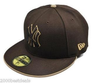 New Era MLB Baseball Fitted Cap 59Fifty New York Yankees Brown Tan Cap