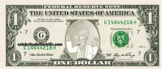 Futurama Professor Farnsworth Celebrity Dollar Bill Uncirculated Mint