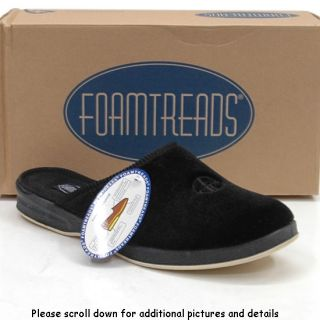 New Foamtreads Deeridge Velvet Black Comfort Lounge Slippers Shoes Men