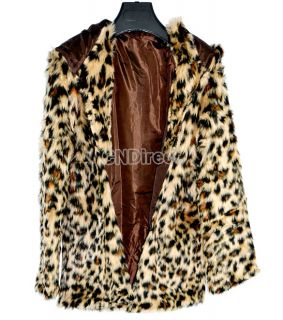 Sexy Fashion Women Leopard Faux Fur Coat Jacket Outerwear New Hot Sale