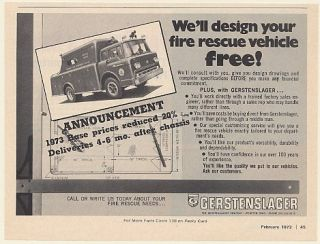 1973 Folcroft Fire Department Gerstenslager Fire Rescue Truck Print Ad