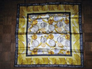 Beautiful Franklin Mint Gold and Silver Coins Silk Scarf New with Box